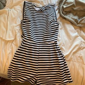 Black and white striped romper with open back
